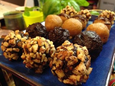 Bitter and naturally sweet chocolate and kinako truffles